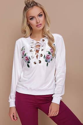 Кофта женская белая с цветами , фото 2