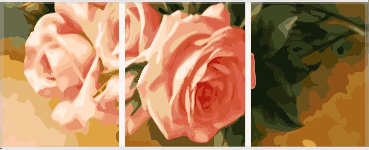 Картина по номерам Нежные розы (Триптих), 50x150 см., Babylon