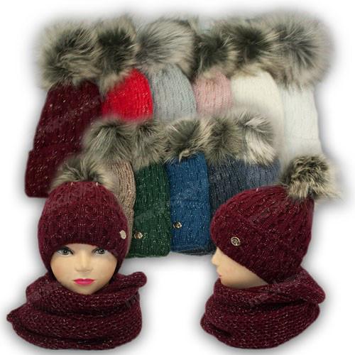 ОПТ Комплект - шапка с ниткой люрекс и шарф (хомут) для девочки, р. 52-54 (5шт/набор)