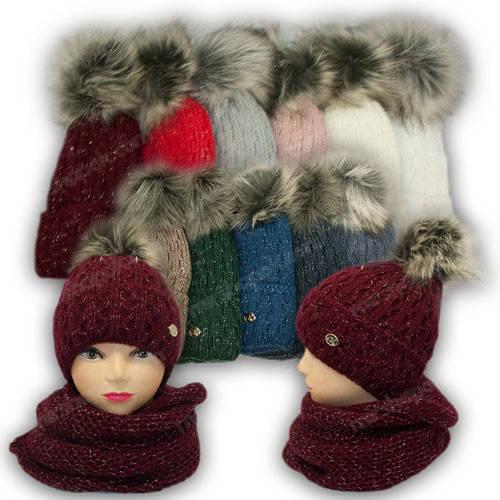 Комплект - шапка с ниткой люрекс и шарф (хомут) для девочки, р. 52-54