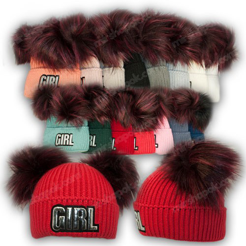 ОПТ Вязанная шапка с нашивкой и двумя помпонами для девочки, р. 50-52 (5шт/набор)