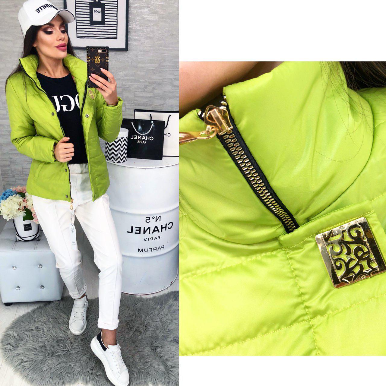 1bd344d1e4c Женская демисезонная куртка (арт 211 2) цвет зеленое яблоко  продажа ...