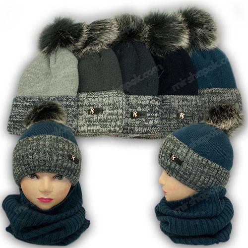 ОПТ Комплект - шапка с помпоном и шарф (хомут) для мальчика, р. 52-54 (5шт/набор)