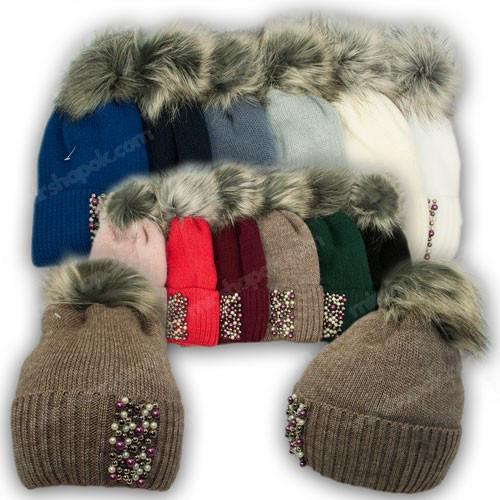 ОПТ Вязанная шапка с бусинками для девочки, р. 52-54 (5шт/набор)