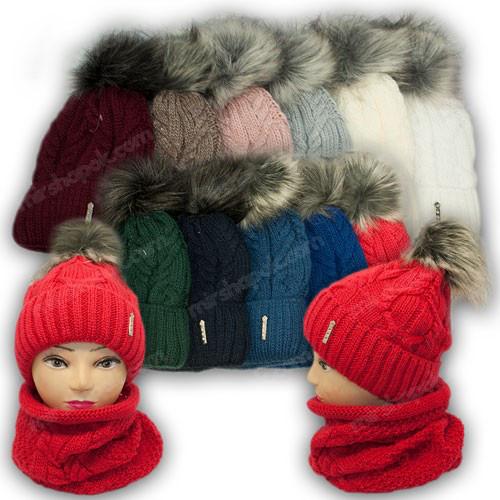 ОПТ Комплект - шапка и шарф (хомут) для девочки, р. 52-54 (5шт/набор)