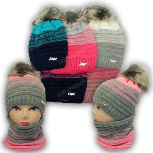 Комплект - шапка и шарф (хомут) для девочки, р. 52-54