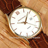 Мужские наручные часы Alberto Kavalli Quartz Brown Gold White классические кожаный ремешок люкс реплика