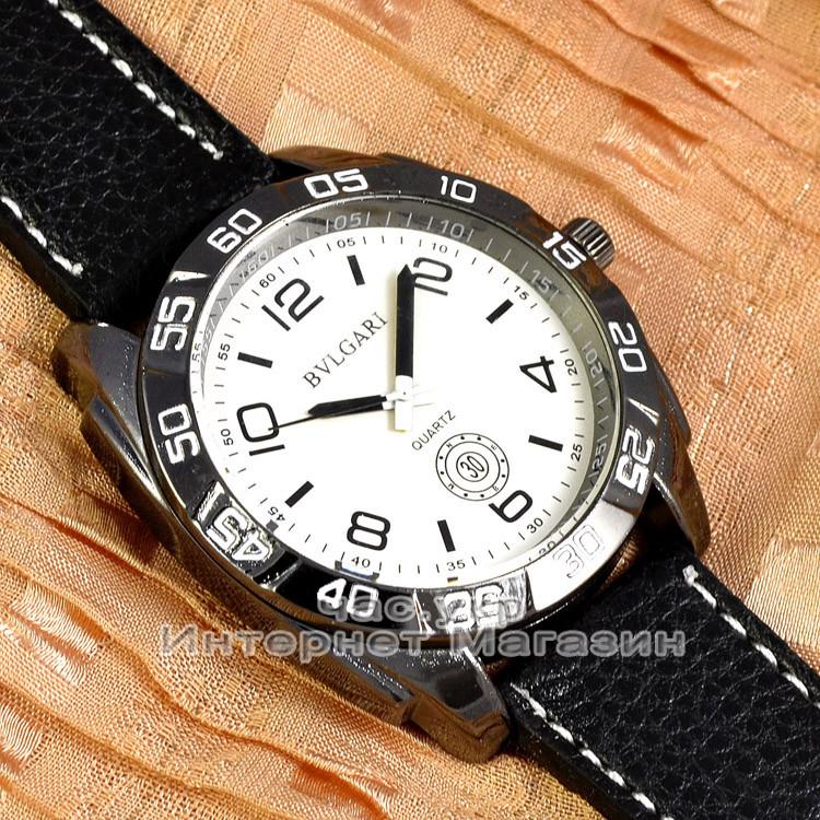 Чоловічі наручні годинники BvLgari Quartz Black White Булгарі кварцові якісна репліка