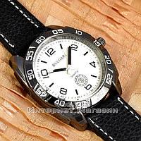 Мужские наручные часы BvLgari Quartz Black White Булгари кварцевые качественная реплика, фото 1