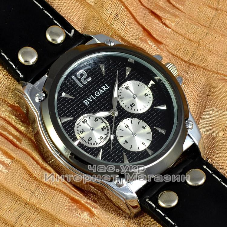 Мужские наручные часы BvLgari Quartz All Black Булгари кварцевые качественная реплика