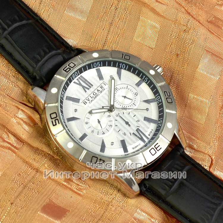 Мужские наручные часы BvLgari Quartz Silver White Булгари кварцевые люкс реплика