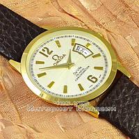 Наручные часы Omega Quartz Date Gold White кварцевые с календарем унисекс женские и мужские омега реплика