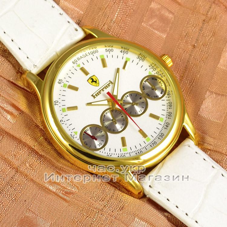 Женские наручные часы Ferrari Quartz Maranello Chronograph Gold Black кварцевые модный стиль люкс реплика