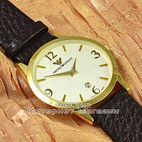 Мужские наручные часы Emporio Armani Quartz Data Gold White с календарем кварцевые класический стиль реплика, фото 1
