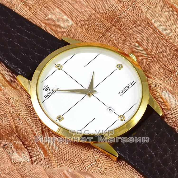 Мужские наручные часы Rolex Tungsten Gold White с календарем кварцевыя кожа Япония люкс реплика