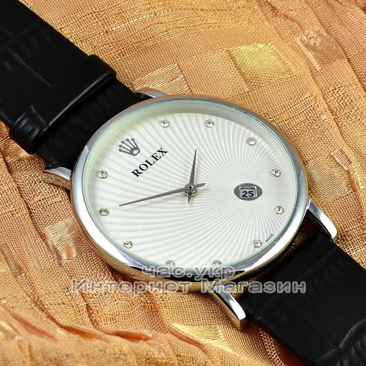 Мужские наручные часы Rolex Quartz Date Dimond Silver White с календарем кварцевыя Япония качественная реплика