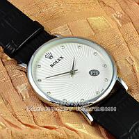 Мужские наручные часы Rolex Quartz Date Dimond Silver White с календарем кварцевыя Япония качественная реплика, фото 1