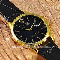 Мужские наручные часы Rolex Oyster Perpetual Calendar с календарем кварцевыя кожа Япония реплика, фото 1