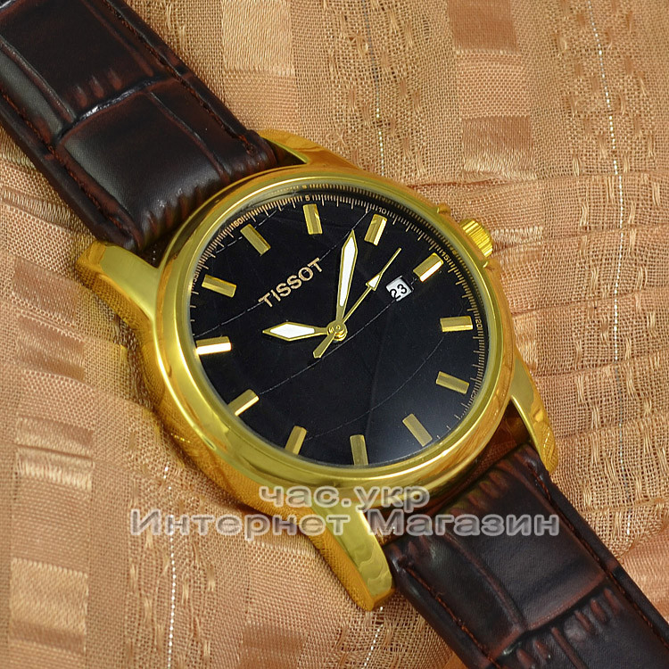 1948e31f Мужские наручные часы Tissot Quartz Calendar Gold Black кварцевые японский  механизм люкс реплика