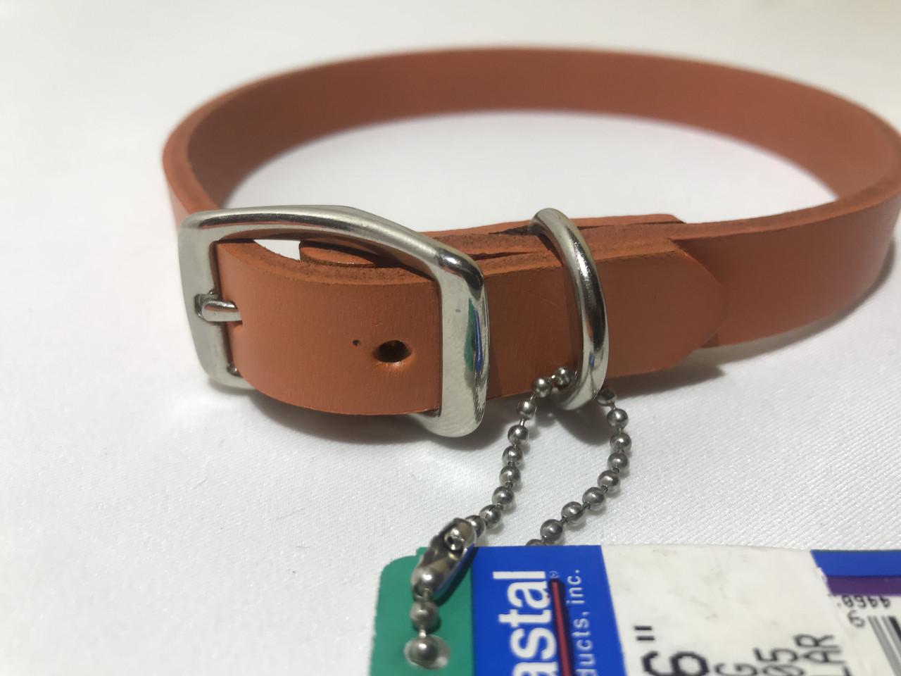 Ошейник кожаный для собак Coastal 34-40 см 16 мм оранжевый