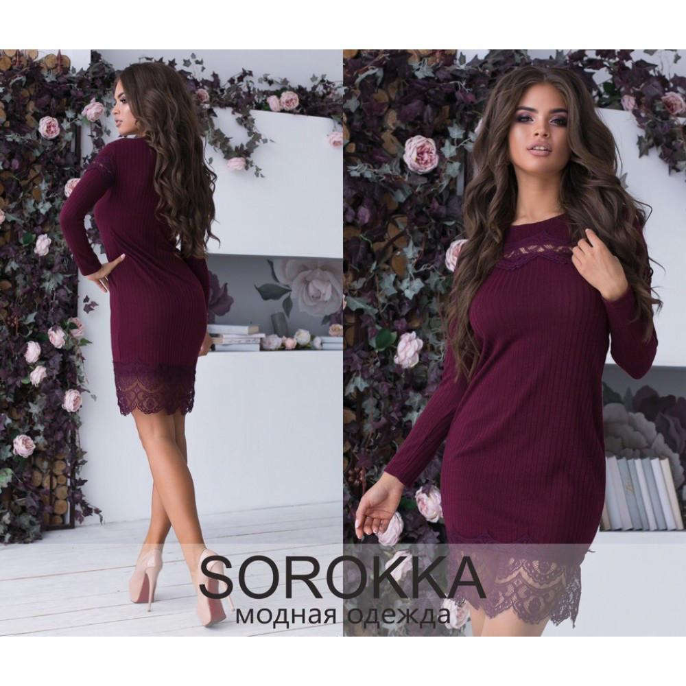 e42fe04bf2a Платье повседневное трикотажная вязка с гипюром размеры 42-44-46 цвет бордо  - Интернет