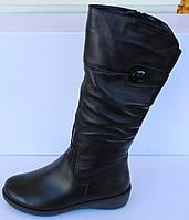 Женские кожаные зимние сапоги на маленькой танкетке, высокие зимние сапоги от производителя модель МВ14, фото 1