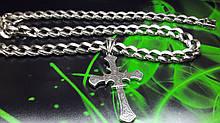 Серебряная цепь с ажурным крестом