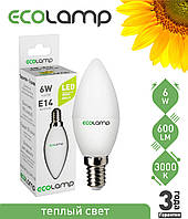 LED лампа ECOLAMP C37-6W-E14-600lm-3000K