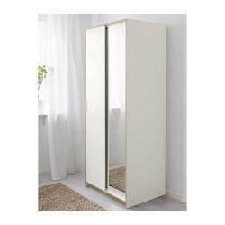 ТРИСИЛ Шкаф платяной, белый, зеркало, 10308787 ИКЕА, IKEA, TRYSIL
