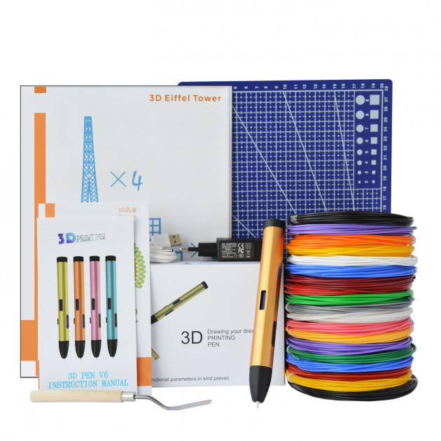 3D-ручка Air Pen Play V6 Bronze с Набором PLA Пластика 180 метров (12 цветов) и Аксессуары