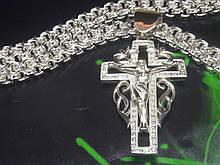 Серебряная цепь Рамзес с крестом