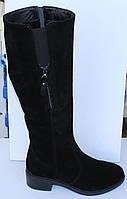 Женские замшевые зимние сапоги на низком ходу, зимние сапоги на худую ногу от производителя модель МВ67С, фото 1