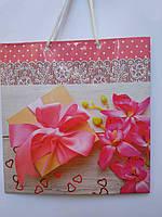 Пакет подарочный бумажный квадрат 23х24х10