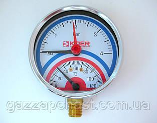 Термоманометр радиальный (с нижним подключением) для напольных котлов, 0 - 4 бар, 0 - 120°C (К810)