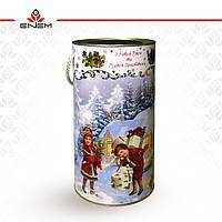 Новорічна упаковка, Дід Мороз на лижах, тубус з картону, М, tc1018