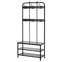 ✅ IKEA PINNIG (203.297.89) Вешалка для одежды с лавой, черная
