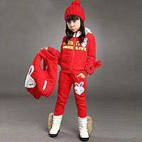 Теплий костюм - трійка для дівчаток, холодна осінь/тепла зима