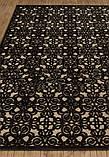 Красивый темно коричневый тонкий рельефный ковер из натуральной вискозы на кремовом фоне, фото 2