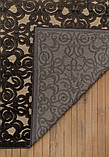Красивый темно коричневый тонкий рельефный ковер из натуральной вискозы на кремовом фоне, фото 5