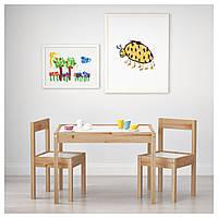 ✅ IKEA LATT (501.784.11) Стол для детей и 2 стула, белый, сосна