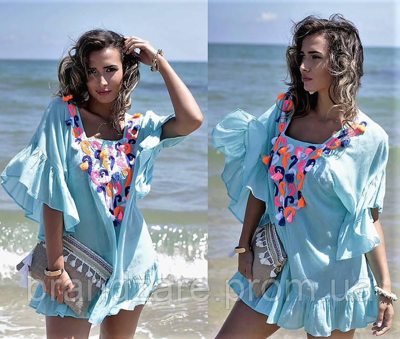 9b3b1cdfd10 Пляжная туника платье Испания с вышивкой стиль бохо