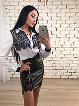 Короткая женская юбка из экокожи с кружевом ft-394 черная, фото 3