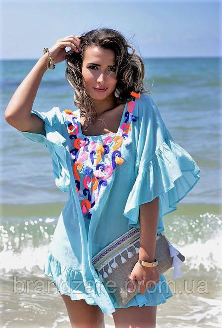 26a421cc421155e Пляжная туника платье Испания с вышивкой стиль бохо, с рюшами и ...