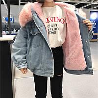 Парка джинсовая женская с розовым мехом зимняя 8c3748a0fa49b