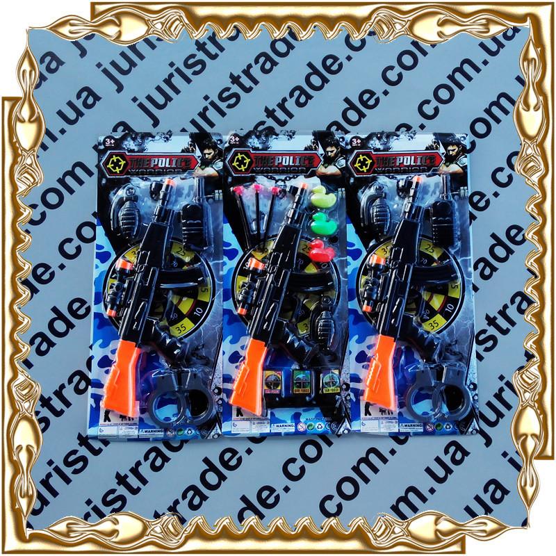 Набор полицейского автомат 39 см., мишень, пули-присоски листе 21,5*51,5*3 см. 003-1-7