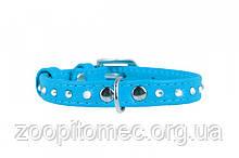 Ошейник Collar GLAMOUR со стразами 12 мм длина 21-29 см голубой