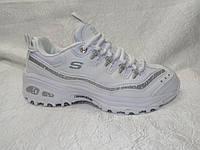 Женские кроссовки  Skechers D'Lites белые с серебром