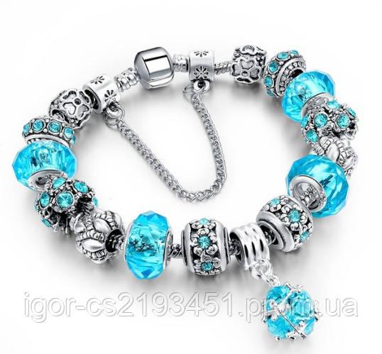 Красивый женский браслет в стиле Pandora. Пандора