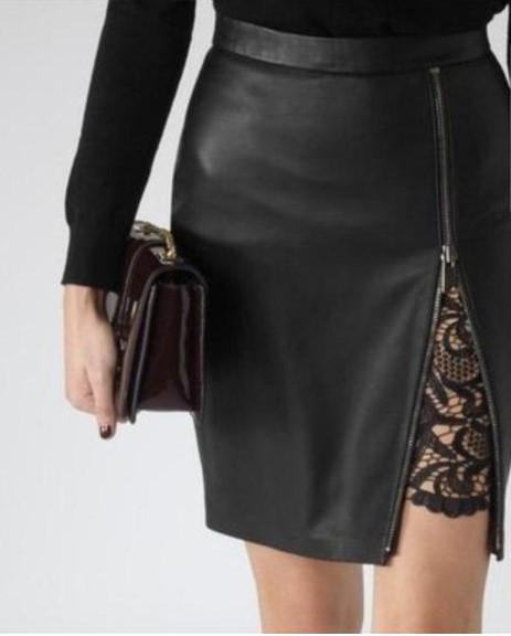 Короткая женская юбка из экокожи с кружевом ft-394 черная