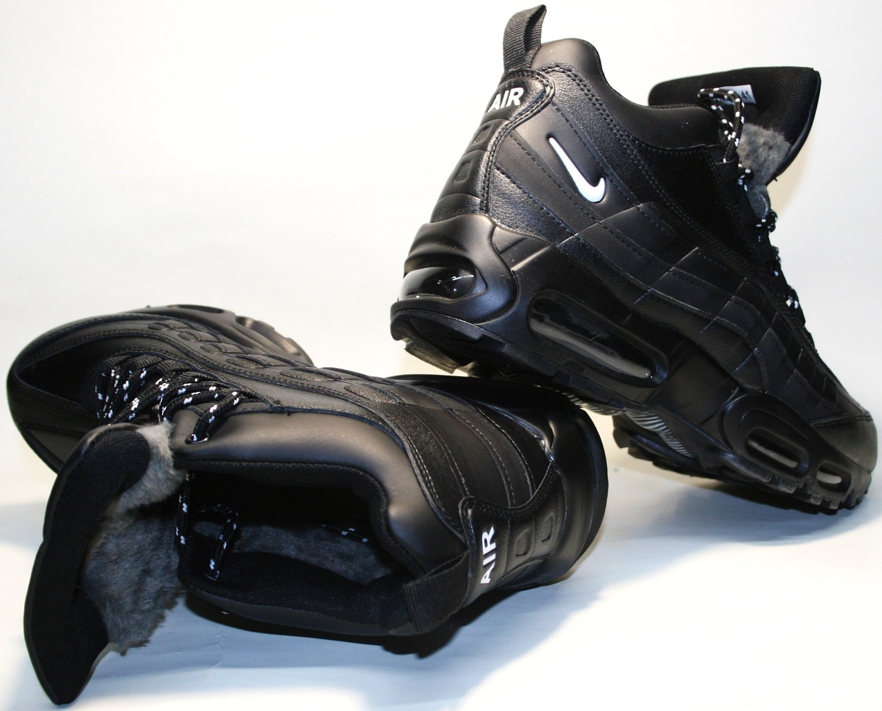 Мужские Зимние Кроссовки Nike Air Max 95 Черные с Мехом — в ... 6b0e15f75a1